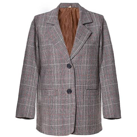 QZUnique Women's Classic Two Buttons Coat Plaid Pockets Suit Jacket Work Offfice Long Sleeves Blazer Jacket