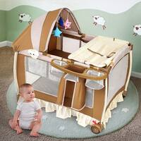 Costway Foldable Baby Crib Playpen Infant Bassinet Bed Multifunction W Bag Toy Music Box - Brown