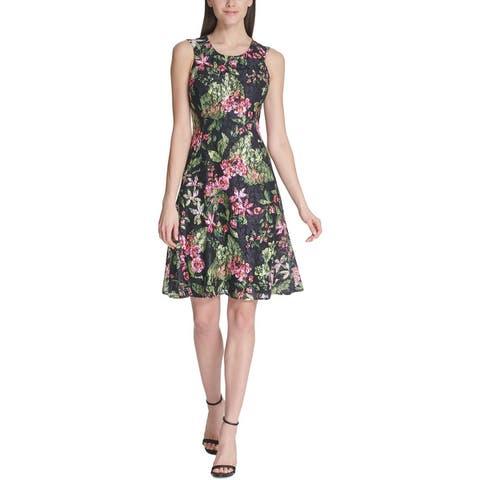 Tommy Hilfiger Womens Orchidea Party Dress Floral Lace Fit & Flare - Black Multi
