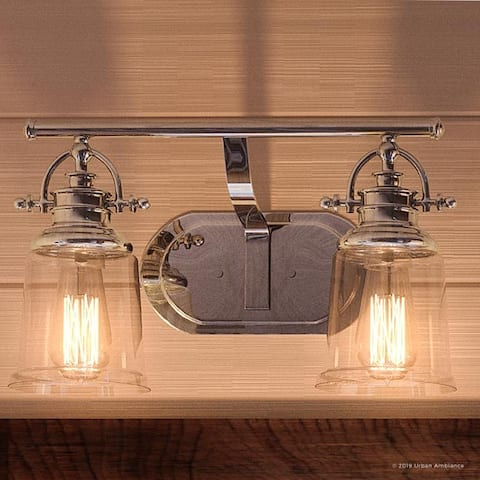 "Luxury Industrial Bathroom Vanity Light, 9.5""H x 16""W, with Vintage Style, Polished Chrome Finish by Urban Ambiance"