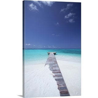 Premium Thick-Wrap Canvas entitled jetty leading to ocean, maldives