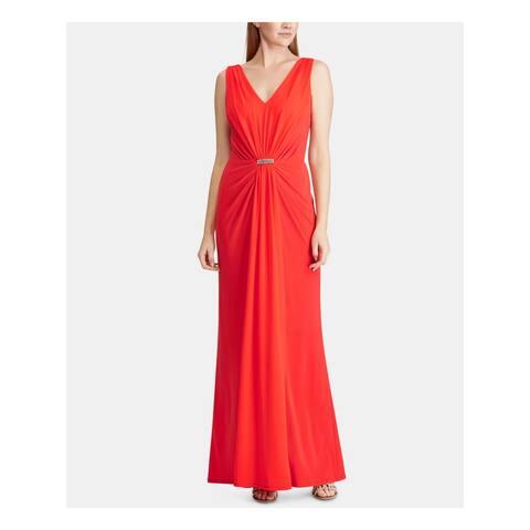 RALPH LAUREN Womens Red Sleeveless Maxi Sheath Formal Dress Size 18
