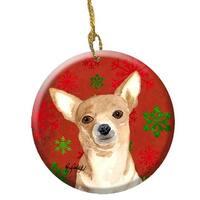 Red Snowflake Chihuahua Christmas Ceramic Ornament