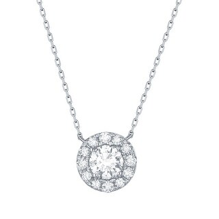 Smiling Rocks 0.71Ct G-H/VS1 Lab Grown Diamond Halo Necklace