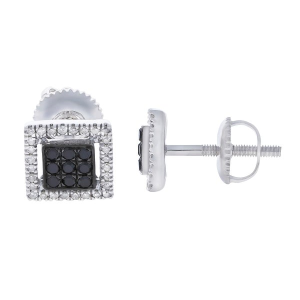 Prism Jewel 0.30Ct Black Color Diamond & White Diamond Screw Back Earring - White H-I