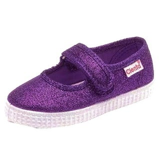 Cienta Little Girls Purple Shimmery Finish Hook-And-Loop Shoes
