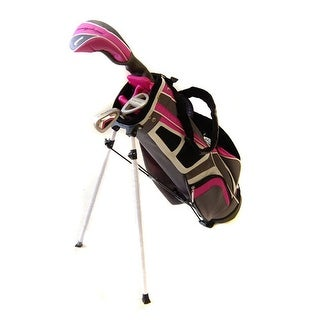 New Tommy Armour Girls' Hot Scot 6pc Complete Junior Golf Set + Stand Bag RH - pink / white / gray