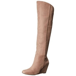 Jessica Simpson Womens Royle Wedge Boots Microsuede Knee High