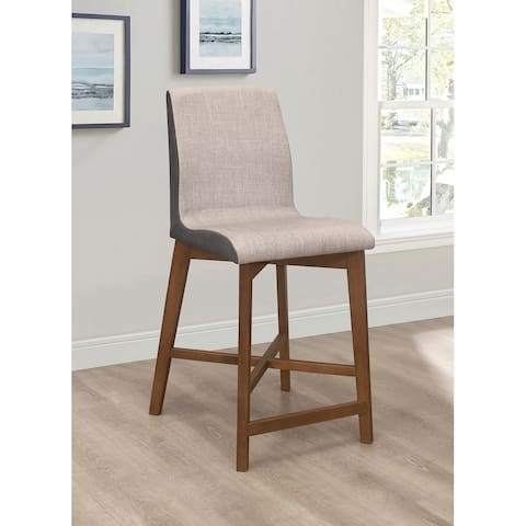 Ethel Grey Upholstered Counter Height Stools (Set of 2)