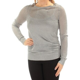 Womens Silver Long Sleeve Jewel Neck Casual Top Size M