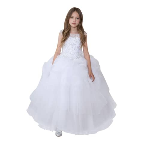 Calla Collection Girls White Glitter Ruffled Gorgeous Pageant Dress