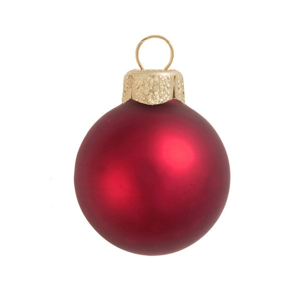 "12ct Matte Red Xmas Glass Ball Christmas Ornaments 2.75"" (70mm)"