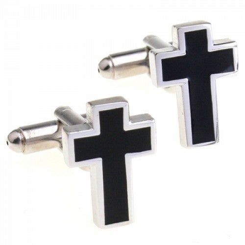 Cross Religion Spiritual Faith Cufflinks In Black