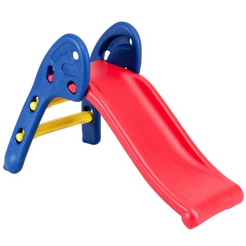 Gymax 2 Step Children Folding Slide Plastic Fun Toy Up-down For Kids