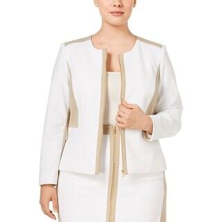 Calvin Klein Womens Plus Collarless Blazer Textured Colorblock - 18W