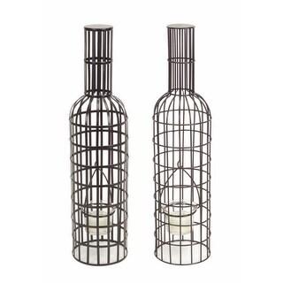 "Pack of 8 Metal Wine Bottle Tea Light Holders 15"""