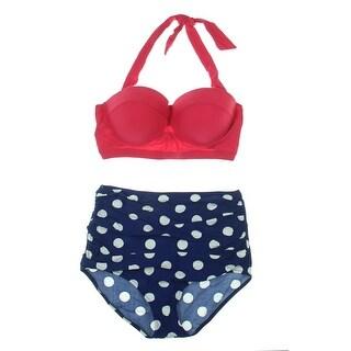 Cherry Cat Womens Vintage High Waist Bikini Swimsuit - XL