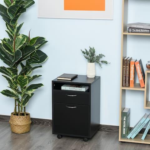 "HomCom 24"" Rolling End Table Mobile Printer Cart Nightstand Organizer - Black"