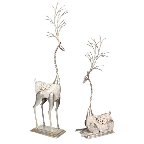 Pack of 2 White and Silver Colored Whimsical Reindeer Christmas Table Top Decorations 38""