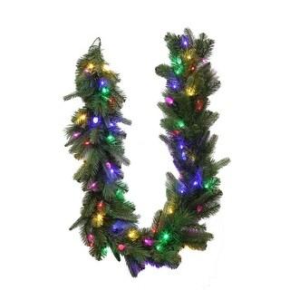 Celebrations 4806024-CC649AC Prelit Green LED Christmas Garland, 6', Multi-Colored
