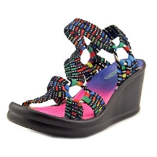 Skechers Sport 86678L Youth Open Toe Canvas Multi Color Wedge Sandal