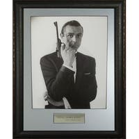 Sean Connery as James Bond unsigned 11X14 Vintage BW Photo Leather Framed movieentertainment