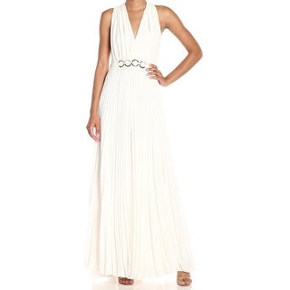 Link to Halston Heritage Womens Dress White Size 4 Pleated O-Ring Waist Gown Similar Items in Dresses