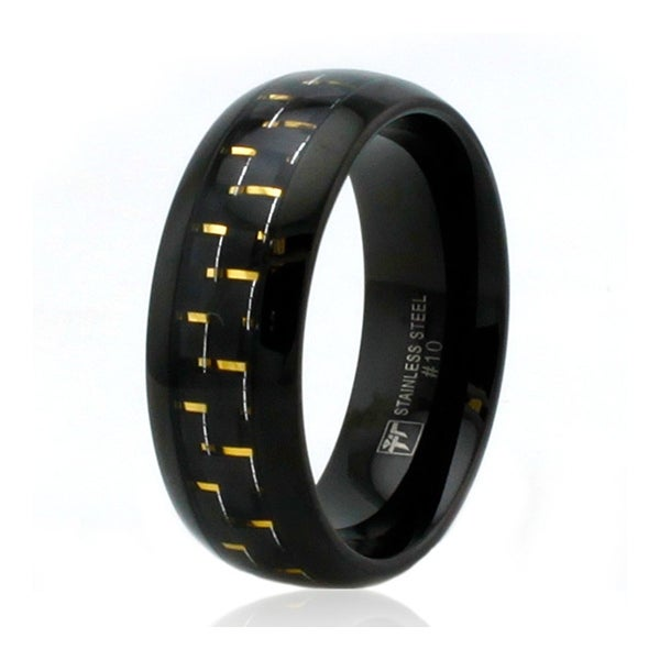 8mm Black Stainless Steel Ring with Gold Carbon Fiber Inlay
