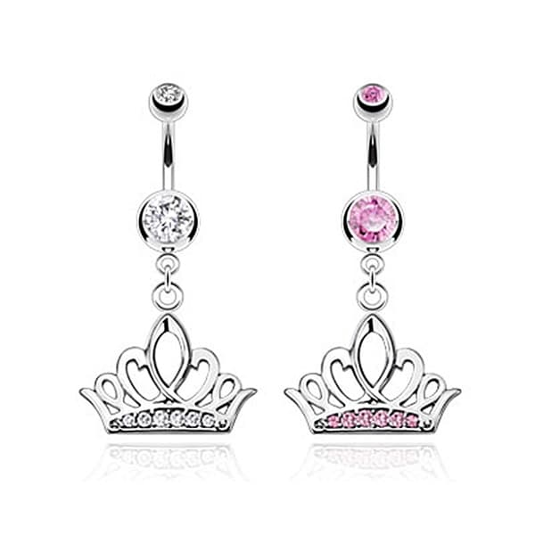 Tiara Crown with Multi CZ Paved Navel Belly Button Ring 316L Surgical Steel