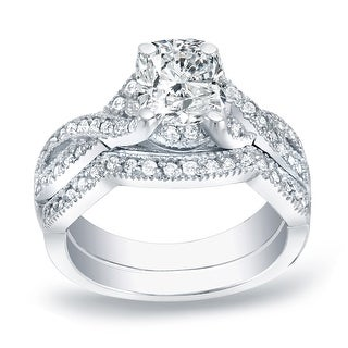Auriya 14k Gold 1ctw Vintage Cushion-cut Diamond Engagement Ring Set