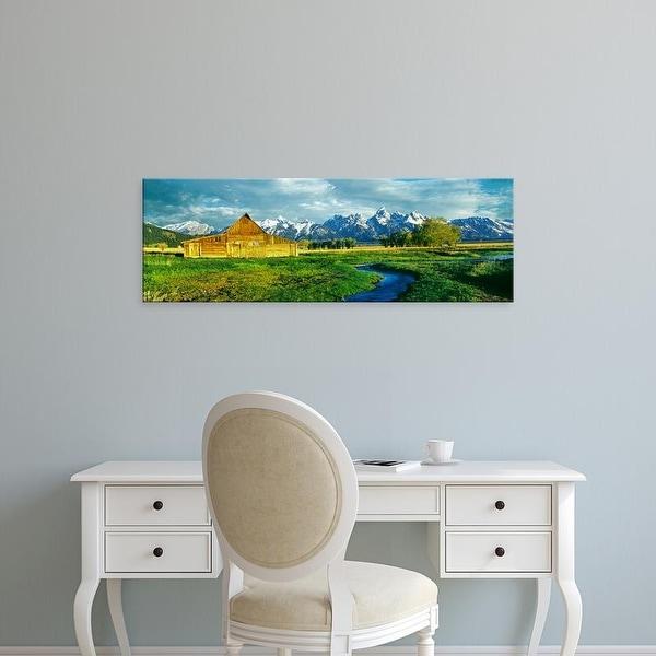Easy Art Prints Panoramic Image 'Moulton Barn, Mormon Row, Teton Range, Grand Teton National Park, Wyoming' Canvas Art