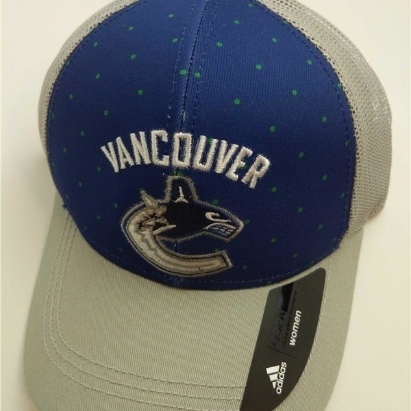 sale retailer 10a8f 9427f ... canada vancouver canucks womens size osfa reebok adjustable trucker hat  7fa12 8c63f