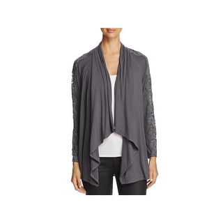 Daniel Rainn Womens Cardigan Sweater Lace Cold-Shoulder - S