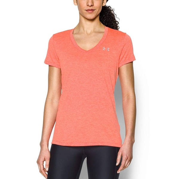 c2971a425 Shop Under Armour Women's Tech Twist V-Neck T-Shirt, After  Burn(878)/Metallic Silver, Medium - Free Shipping On Orders Over $45 -  Overstock - 22425167