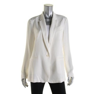 Theory Womens One-Button Blazer Silk Collar