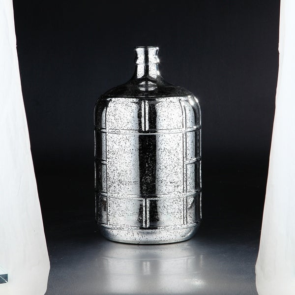 "15.5"" Metallic Silver Tiled Pattern Glass Bud Vase - N/A"