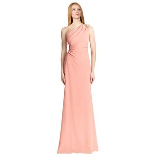 David Meister Sleeveless One-shoulder Long Evening Gown Dress - 4