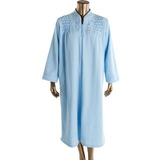 Miss Elaine Womens Long Robe Embroidered Zip Front