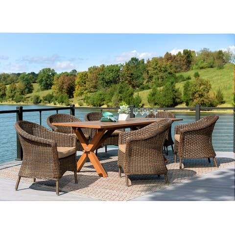 La-Z-Boy Cumberland 7pc Natural and Cafe Brown Dining Set