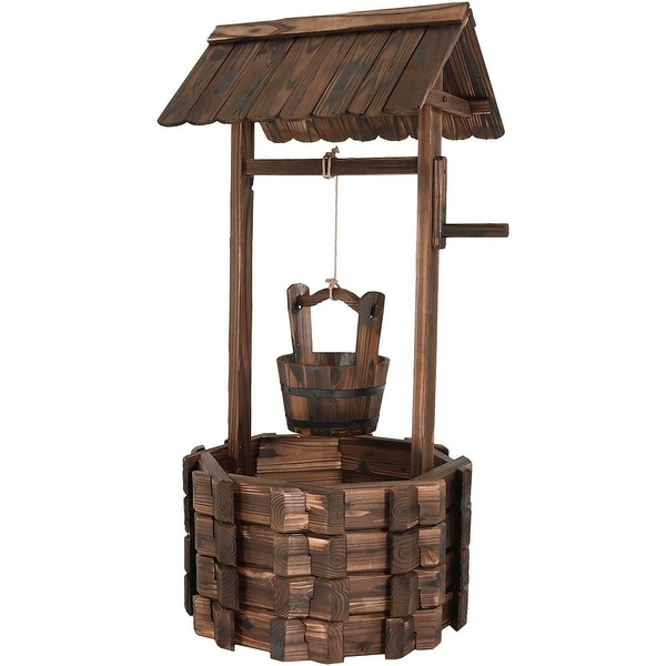 Sunnydaze Outdoor Rustic Wooden Wishing Well Garden Planter, 46 Inch Tall, Perfect for Patio or Landscape