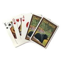 Lake Tahoe CA - Black Bear in Forest - LP Artwork (Poker Playing Cards Deck)