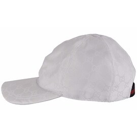 Gucci Men's 387578 WHITE Nylon GG Guccissima Web Stripe Baseball Cap Hat M