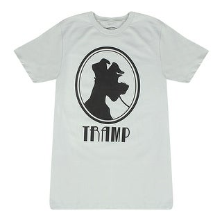 """Disney """"Lady And The Tramp"""" """"Tramp"""" Quote And Black Silhouette Grey T-shirt"""