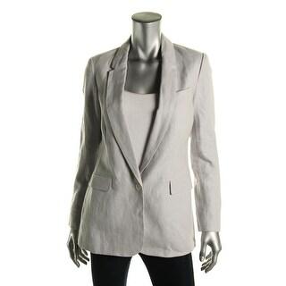 Joie Womens Verene Faux Pockets Linen One-Button Blazer - 2