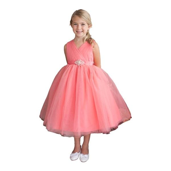 53322662 Shop Little Girls Blush Glitter Tulle V-Neck Rhinestone Brooch Flower Girl  Dress - Free Shipping Today - Overstock - 18165904