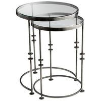Cyan Design Abacus Nesting Tables Abacus 18.25 Inch Diameter Iron and Glass Nesting Table Made in India