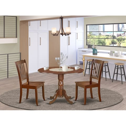 Round 42 Inch Table with Two 9-Inch Drop Leaves and Vertical Slatted Chairs - Mahogany Finish (Pieces Option)