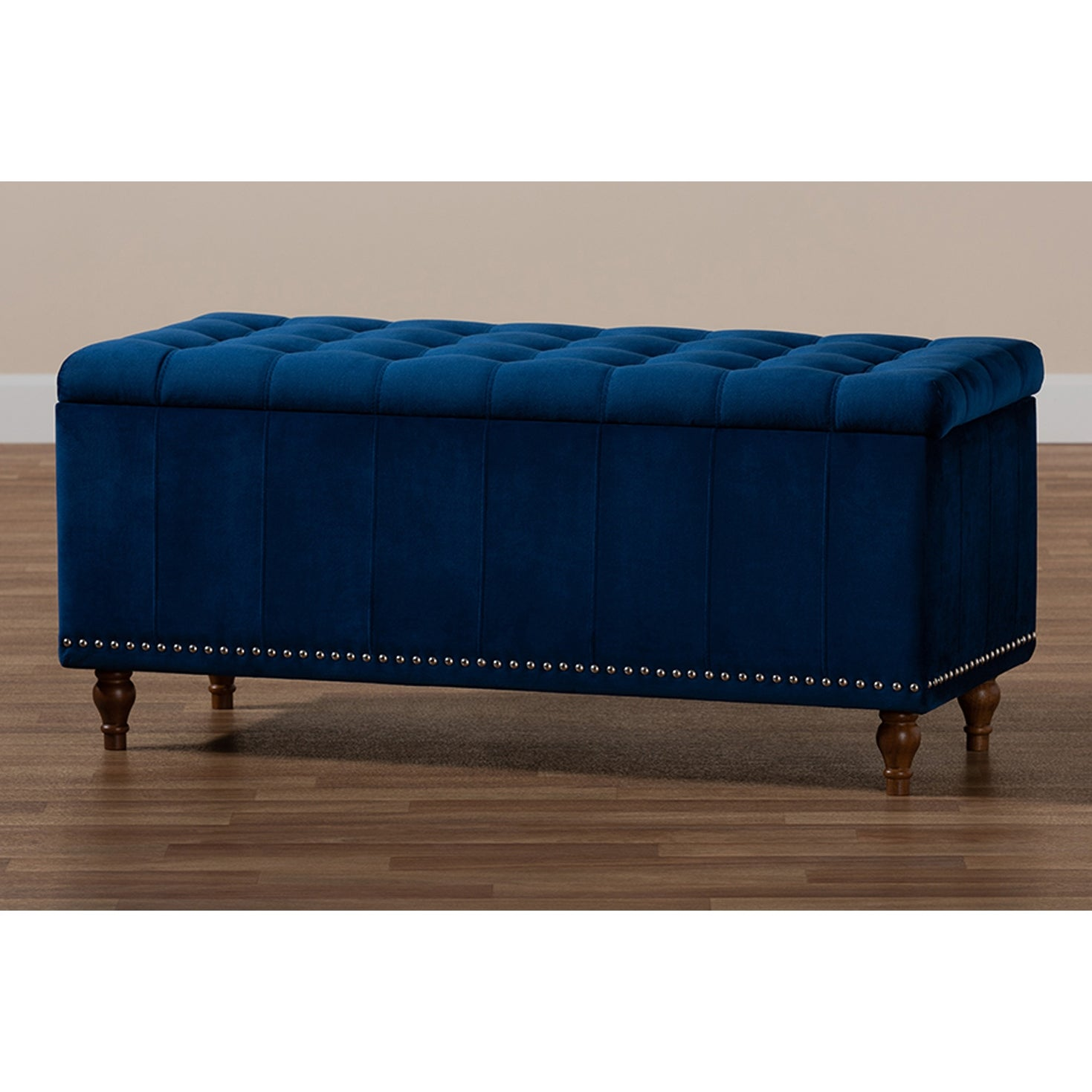 Theodore Navy Blue Velvet Fabric Button Tufted Storage Ottoman Bench Overstock 29897756