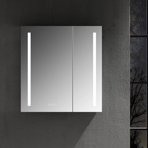 LED Mirror Medicine Cabinet with Defogger, Dimmer, Outlets & USB Ports