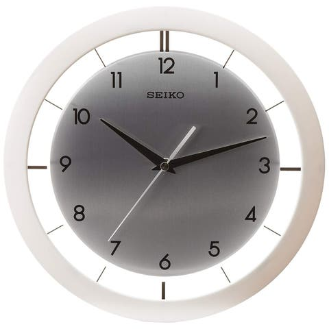 "Seiko QXA520WLH 11"" Brushed Metal Wall Clock"